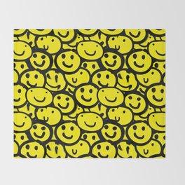 Smiley Face Yellow Throw Blanket