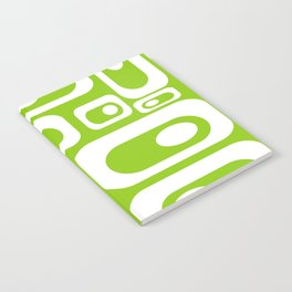 Atomic Age Pod Pattern in White and Lime Green. Minimalist Monochrome Notebook