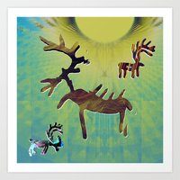 reindeer Art Prints featuring reindeer by donphil