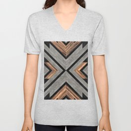 Urban Tribal Pattern No.2 - Concrete and Wood Unisex V-Neck