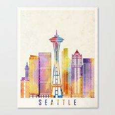 Seattle landmarks watercolor poster Canvas Print