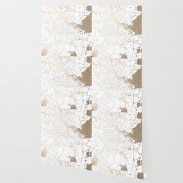 Amsterdam White on Gold Street Map II Wallpaper