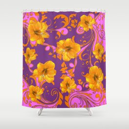 TROPICAL YELLOW & GOLD AMARYLLIS FLOWERS PATTERN Shower Curtain