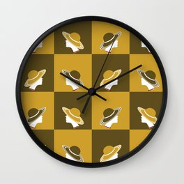 Hat lady in Brown and Mustard Yellow Wall Clock