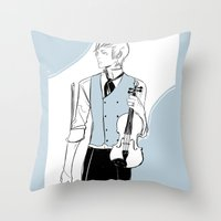 violin Throw Pillows featuring Violin by Cassandra Jean