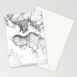 Hong Kong Map White Stationery Cards