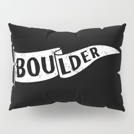 Boulder Colorado Pennant Flag B&W // University College Dorm Room Graphic Design Decor Black & White Pillow Sham
