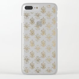 Vintage white faux gold floral damask Clear iPhone Case