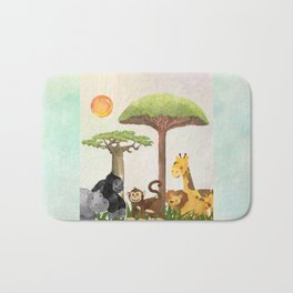 Watercolor Safari Animals Under Exotic Baobab Tree Bath Mat