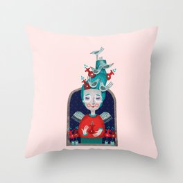 Birdish Day Throw Pillow