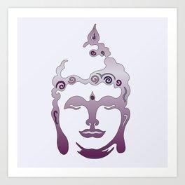 Buddha Head violet - grey Art Print
