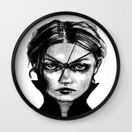 Portrait of dark girl named Death - Wall Clock