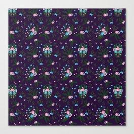 Vintage Florals - Purple Canvas Print