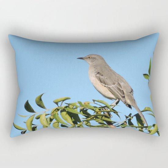Northern Mockingbird Looks South Rectangular Pillow