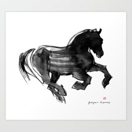 Horse (Devil cantering) Art Print