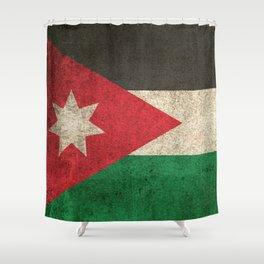 Old and Worn Distressed Vintage Flag of Jordan Shower Curtain
