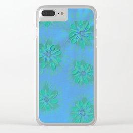 Cerulean Petal Rose Clear iPhone Case