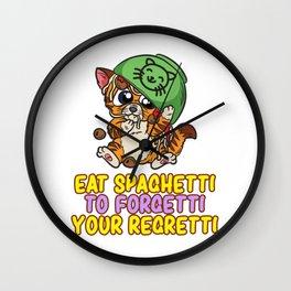 Eat Spaghetti To Forgetti Your Regretti Cat Pasta Wall Clock