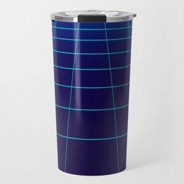 Minimalist Blue Gradient Grid Lines Travel Mug
