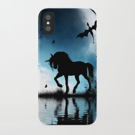 Beautiful unicorn with flying dragon in the sky iPhone Case