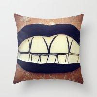 teeth Throw Pillows featuring  Teeth by Hayleydonovan