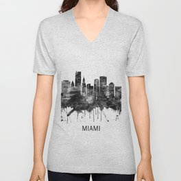 Miami Florida Skyline BW Unisex V-Neck