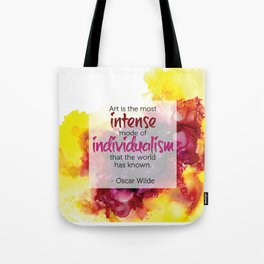 Inspirational Quote - Oscar Wilde - Alcohol Ink Tote Bag