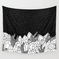 crystals Wall Tapestries featuring Cosmic Crystals by michiko_design
