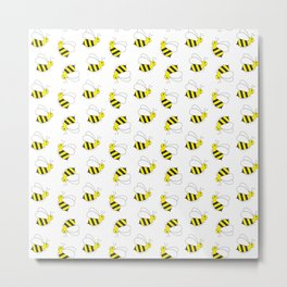 Bumble Bee Pattern Metal Print