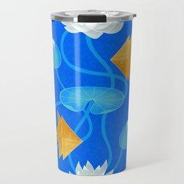 Tangram goldfish and water lilies in blue Travel Mug