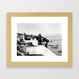 The lakefront at Galilee. Tiberias. 1945 Framed Art Print