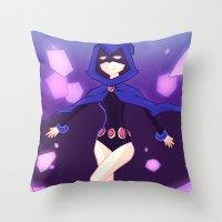 teen titans Throw Pillows featuring [Teen Titans] Raven by samarasketch