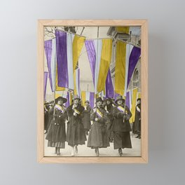 Feb 1917: On their day off, Working Women protest in front of White House for the right to vote Framed Mini Art Print
