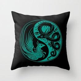 Teal Blue and Black Dragon Phoenix Yin Yang Throw Pillow