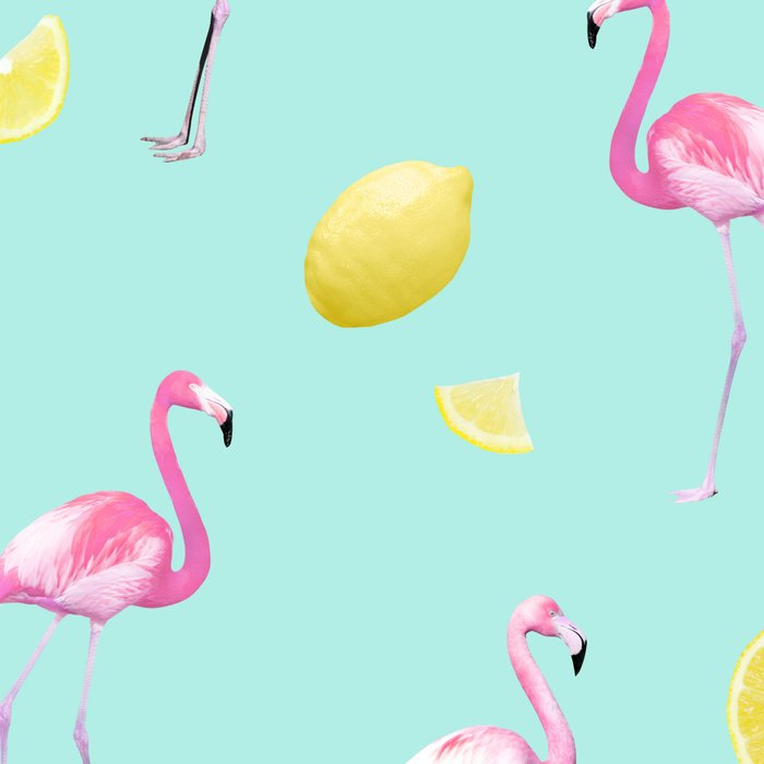 Flamingo Lemon Twist Summer Pattern #1 (Kids Collection) #decor #art #society6 Leggings
