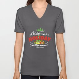 Christmas Holiday Merry & Bright Unisex V-Neck