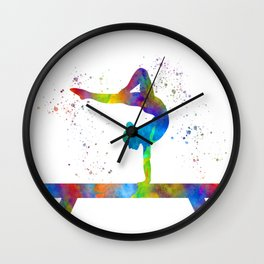 Rhythmic gymnastics competition in watercolor Wall Clock