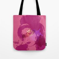 amy poehler Tote Bags featuring Amy by BIG Colours