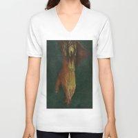 frankenstein V-neck T-shirts featuring Frankenstein by Marilyn Foehrenbach