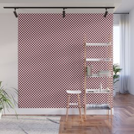 Deep Dark Red Pear and White Mini Check 2018 Color Trends Wall Mural