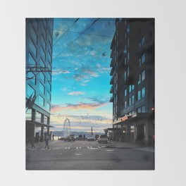 Seattle Summer Sunset Throw Blanket