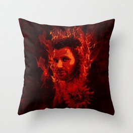 Lucifer in flames Throw Pillow