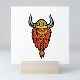 Angry Norseman Head Mascot Mini Art Print