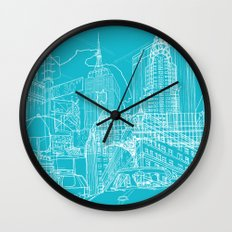 New York! Blueprint Wall Clock