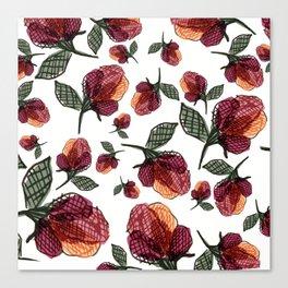 Prairie Rose Flower in Red and Orange Canvas Print