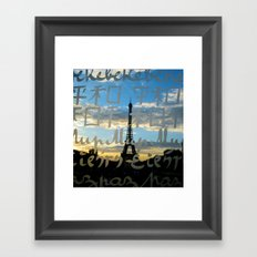 The Eiffel Tower behind the peace word - Traveling series Framed Art Print