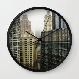 Chicago Buildings in Fog Color Photo Wall Clock