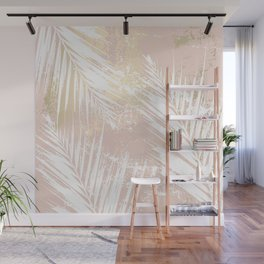 Gold Blush Palm Leaves Wall Mural