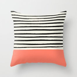 Coral x Stripes Throw Pillow