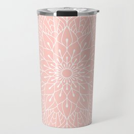 White Mandala Pattern on Rose Pink Travel Mug